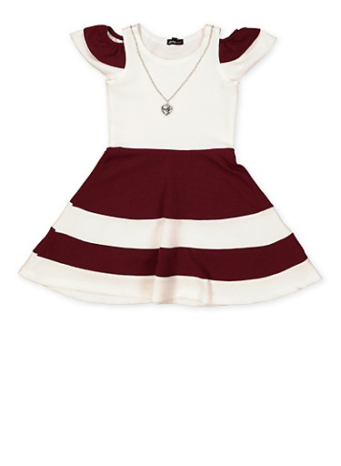 Girls 4-6x Color Block Skater Dress with Necklace,WINE,large