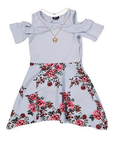 Girls 4-6x Ruffled Cold Shoulder Floral Skater Dress,BABY BLUE,large