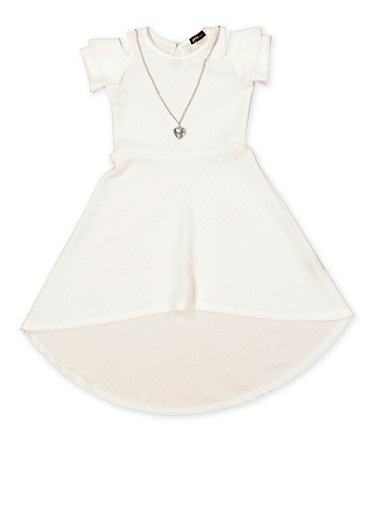 Girls 4-6x High Low Dress with Necklace,IVORY,large