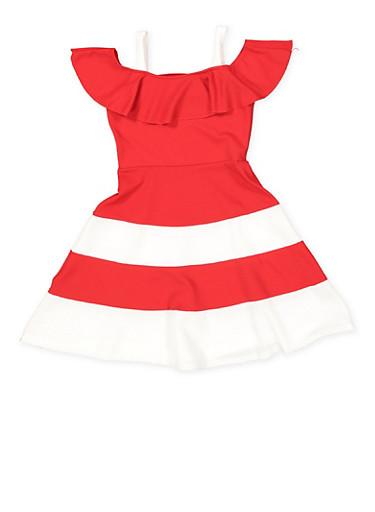 Girls 4-6x Color Block Off the Shoulder Skater Dress,RED,large