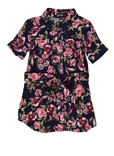 Girls 4-6x Belted Floral Shirt Dress,NAVY,large