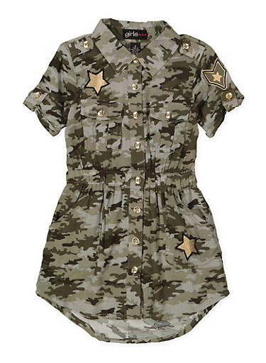 Girls 4-6x Camo Shirt Dress,OLIVE,large