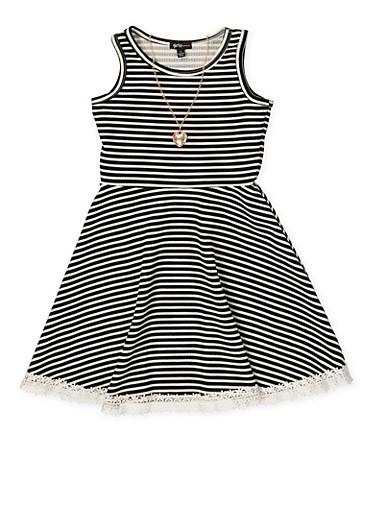 Girls 4-6x Striped Crochet Trim Skater Dress with Necklace,BLACK,large