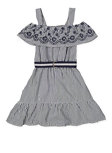 Girls 4-6x Eyelet Ruffle Cold Shoulder Striped Dress,NAVY,large
