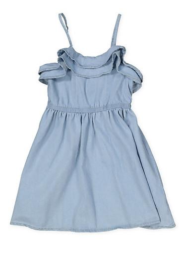 Girls 4-6x Ruffled Denim Skater Dress,LIGHT WASH,large