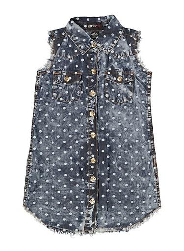Girls 4-6x Polka Dot Chambray Shirt Dress,MEDIUM WASH,large