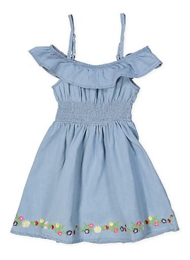 Girls 4-6x Floral Embroidered Trim Off the Shoulder Dress,LIGHT WASH,large