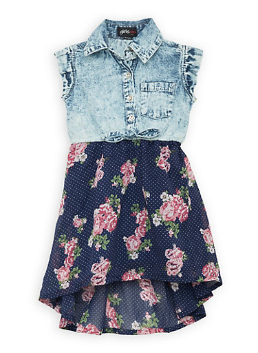 Girls 4-6x Denim and Floral High Low Dress,DENIM,large