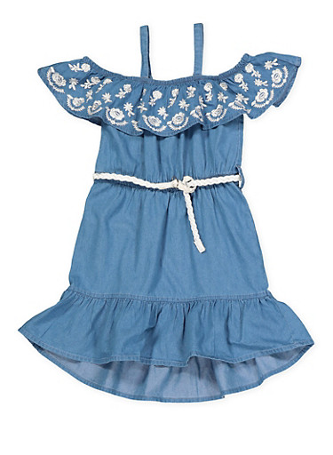 Girls 4-6x Belted Off the Shoulder Denim Dress,MEDIUM WASH,large