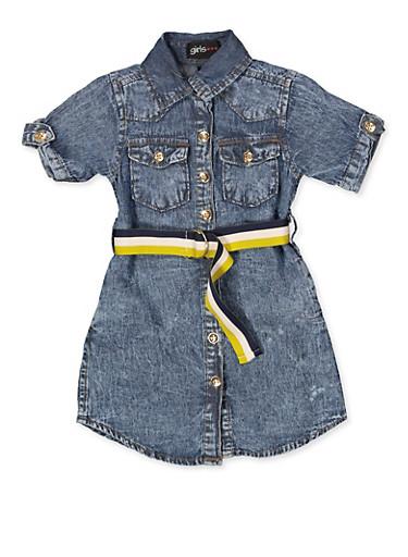 Girls 4-6x Striped Belt Denim Shirt Dress,MEDIUM WASH,large