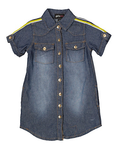 Girls 4-6x Striped Tape Denim Shirt Dress,DARK WASH,large