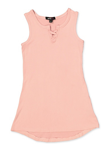 Girls 4-6x Caged Neck Tank Dress,MAUVE,large