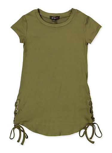 Girls 4-6x Lace Up Side T Shirt Dress,OLIVE,large