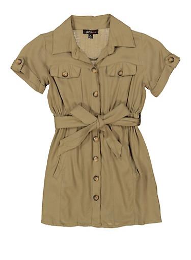 Little Girls Tie Waist Collared Shirt Dress,OLIVE,large