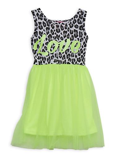 Girls 4-6x Love Tulle Skirt Skater Dress,LIME,large