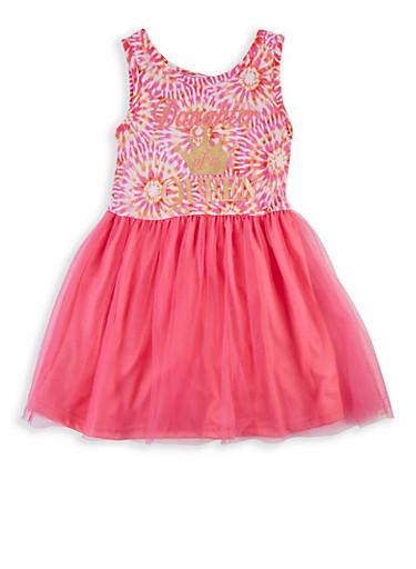 Girls 4-6x Daughter of a Queen Tie Dye Skater Dress,PINK,large