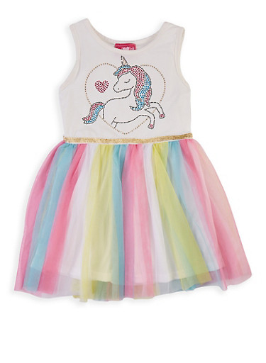 Girls 4-6x Unicorn Studded Skater Dress,MULTI COLOR,large