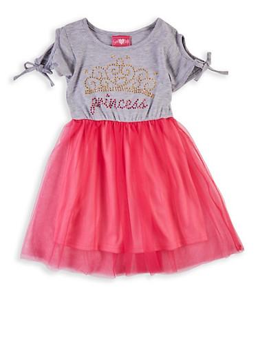 Girls 4-6x Princess Cold Shoulder Skater Dress,HEATHER,large