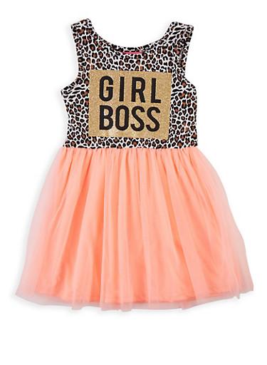 Girls 4-6x Girl Boss Skater Dress,CORAL,large