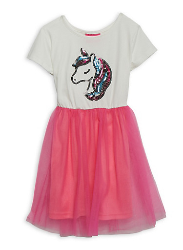 Girls 4-6x Sequin Unicorn Skater Dress,IVORY,large