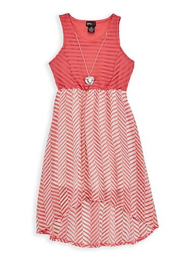 Girls 4-6x Shadow Stripe Printed Skater Dress,CORAL,large