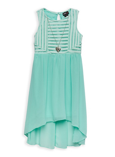 Girls 4-6x High Low Skater Dress with Necklace,AQUA,large