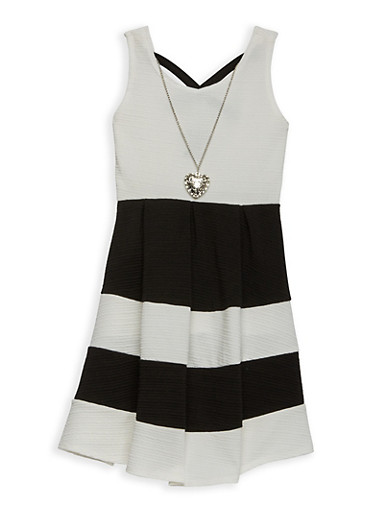 Girls 4-6x Color Block Skater Dress with Necklace,BLACK,large