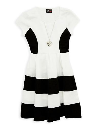 Girls 4-6x Color Block Skater Dress with Necklace,BLACK,large
