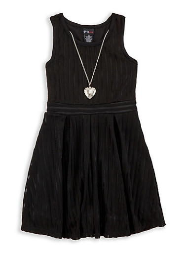Girls 4-6x Shadow Stripe Skater Dress,BLACK,large