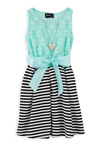 Girls 4-6x Lace Striped Skater Dress | Tuggl