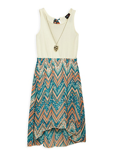 Girls 4-6x Printed High Low Dress with Necklace,BLUE,large