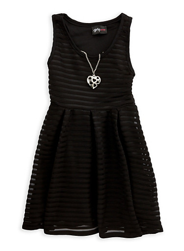 Girls 4-6x Shadow Stripe Skater Dress with Necklace,BLACK,large