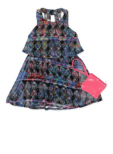 Girls 4-6x Printed Overlay Dress with Purse,BLACK,large