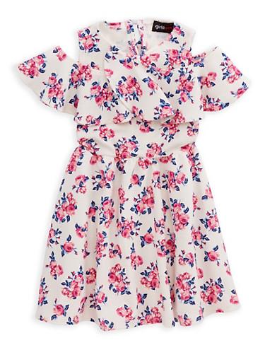 Girls 4-6x Floral Cold Shoulder Skater Dress,IVORY,large