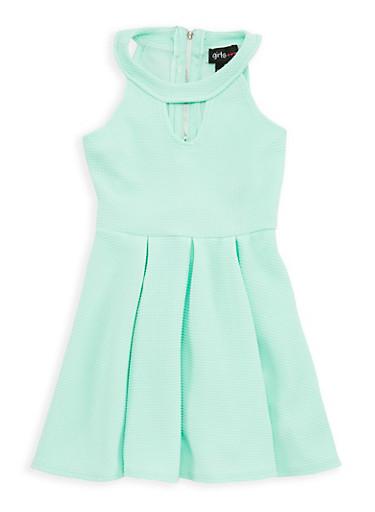 Girls 4-6x Textured Knit Skater Dress,AQUA,large