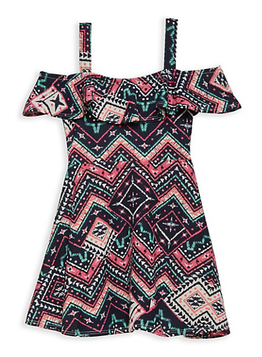 Girls 4-6x Aztec Print Off the Shoulder Dress,NAVY,large