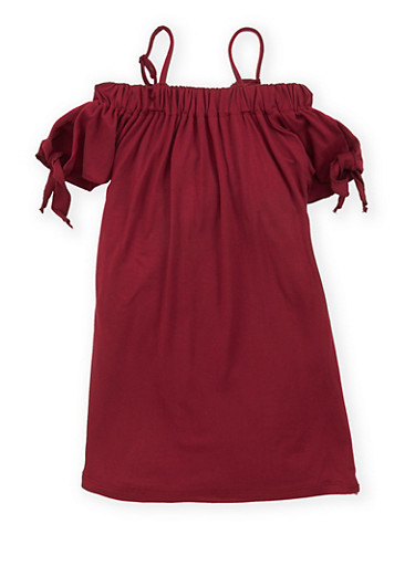 Girls 4-6x Off the Shoulder Tie Sleeve Shift Dress,WINE,large