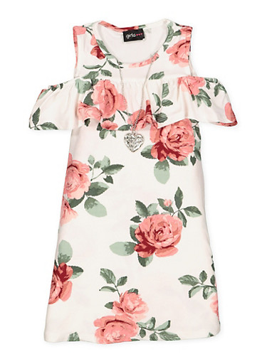 Girls 4-6x Floral Cold Shoulder Dress with Necklace,IVORY,large