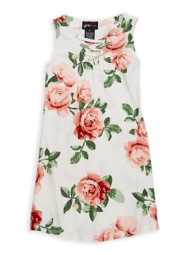 Girls 4-6x Floral Tank Dress,IVORY,large