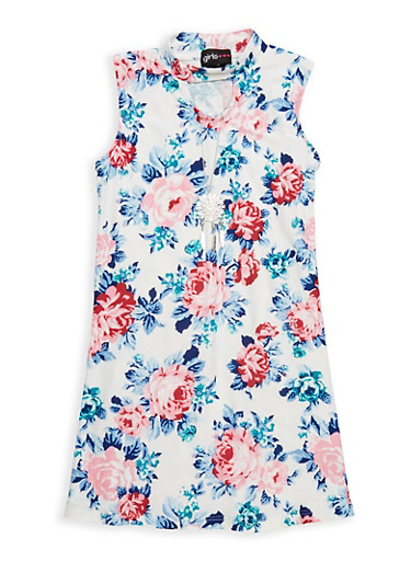 Girls 4-6x Floral Keyhole Tank Dress,IVORY,large