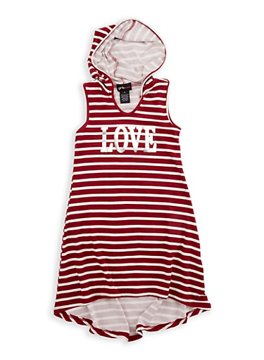 Girls 4-6x Printed Love Graphic Hooded High Low Dress,WINE,large