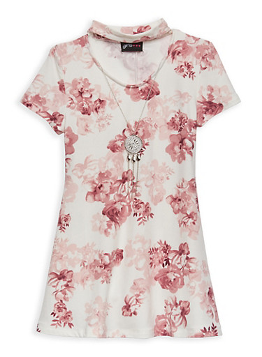 Girls 4-6x Floral Shift Dress with Necklace,MAUVE,large
