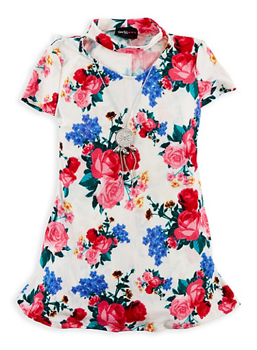 Girls 4-6x Soft Knit Floral Dress with Necklace at Rainbow Shops in Columbia, TN | Tuggl