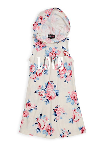 Girls 4-6x Love Graphic Hooded Tank Dress,IVORY,large