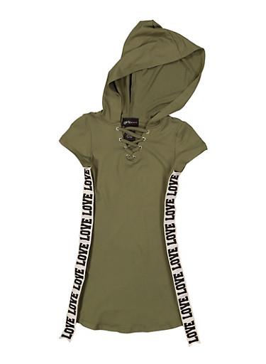Girls 4-6x Love Tape Hooded T Shirt Dress,OLIVE,large