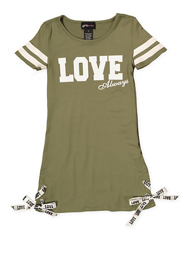 Girls 4-6x Love Always T Shirt Dress,OLIVE,large