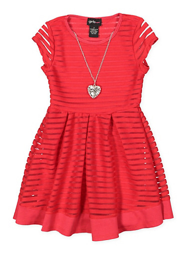 Girls 4-6x Shadow Stripe Skater Dress with Necklace,RED,large