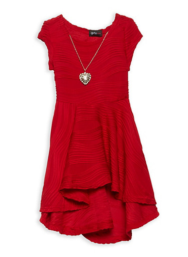 Girls 4-6x Skater Dress with Necklace,RED,large