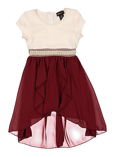 Girls 4-6x Faux Pearl Waist Two Tone Skater Dress,WINE,large