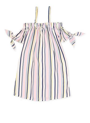 Girls 4-6x Striped Tie Sleeve Off the Shoulder Dress,PINK,large